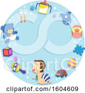 Poster, Art Print Of Crawling Baby On A Frame Of Toys