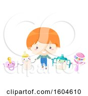 Clipart Of A Red Haired Toddler Boy Holding Hands With A Bottle Pacifier Sippy Cup And Rattle Royalty Free Vector Illustration by BNP Design Studio