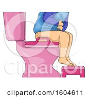 Clipart Of A Toddler Holding His Belly While Sitting On A Toilet Royalty Free Vector Illustration