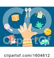 Clipart Of A Toddler Hand With Toys And Eating Accessories Royalty Free Vector Illustration