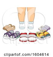 Clipart Of A Toddler Standing In Front Of Shoes Royalty Free Vector Illustration