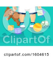 Clipart Of A Toddler Holding A Sippy Cup And Teddy Bear Over Toys Royalty Free Vector Illustration
