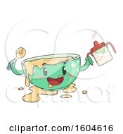 Messy Toddler Bowl Mascot Holding A Spoon And Sippy Cup