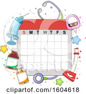 Clipart Of A Calendar With Toddler Objects From Syringe To Stethoscope For Medical Check Up Royalty Free Vector Illustration by BNP Design Studio