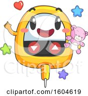 Toddler Glucose Meter Mascot Holding A Teddy Bear