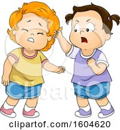 Clipart Of A Toddler Girl Pulling Hair Of Another Royalty Free Vector Illustration