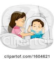 Clipart Of A Girl Sleeping Next To Her Baby Brother Royalty Free Vector Illustration