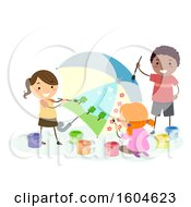 Group Of Children Painting An Umbrella