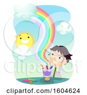 Clipart Of A Scientist Boy Heating Crayons To Make A Rainbow Royalty Free Vector Illustration