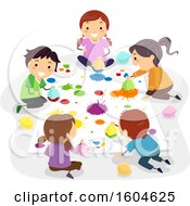 Clipart Of A Group Of Children Painting With Balloons Royalty Free Vector Illustration by BNP Design Studio