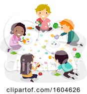 Poster, Art Print Of Group Of Children Painting With Fruit And Vegetables