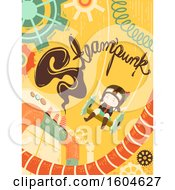 Clipart Of A Girl On A Steampunk Swing Royalty Free Vector Illustration