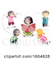 Clipart Of A Female Teacher Reading A Book As Students Act Out Animal Characters Royalty Free Vector Illustration