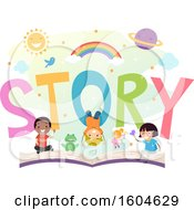 Clipart Of A Group Of Children And A Frog On An Open Story Book Royalty Free Vector Illustration
