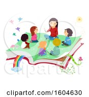 Clipart Of A Female Teacher Telling A Story To Children On A Magical Open Book Royalty Free Vector Illustration