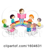 Poster, Art Print Of Female Teacher Reading A Story To Students As They All Sit On A Rainbow