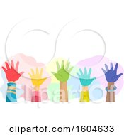 Poster, Art Print Of Group Of Raised Hands Of Kids With Colorful Paint