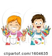 Poster, Art Print Of Boy And Girl Holding Out Their Colorful Hands Covered In Paint