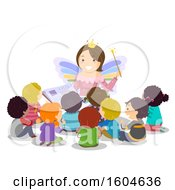 Clipart Of A Female Teacher Dressed As A Fairy And Reading A Book To Students Royalty Free Vector Illustration