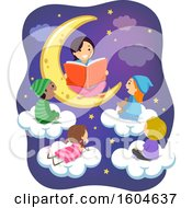 Clipart Of A Female Teacher Sitting On A Moon And Reading A Story To Children On Clouds Royalty Free Vector Illustration