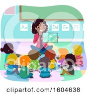 Clipart Of A Female Teacher Using A Tablet To Tell A Story To Her Children Royalty Free Vector Illustration by BNP Design Studio