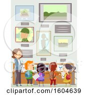 Clipart Of A Female Teacher And Students At A Memorial Museum Royalty Free Vector Illustration