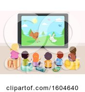 Clipart Of A Rear View Of Children Watching An Animal Cartoon On Tv Royalty Free Vector Illustration