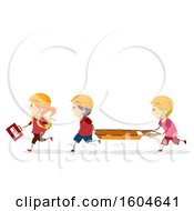 Clipart Of A Group Of First Responder Children Carrying A First Aid Kit And Litter Royalty Free Vector Illustration