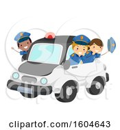 Group Of Children Riding In A Police Car