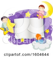 Clipart Of A Group Of Children In Pjs Around An Open Book With Stars And A Crescent Moon Royalty Free Vector Illustration