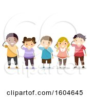 Clipart Of A Group Of Children Saluting Royalty Free Vector Illustration