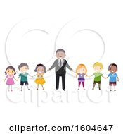Poster, Art Print Of Group Of Children Holding Hands With Mlk