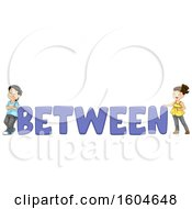 Clipart Of A Boy And Girl On Both Sides Of The Word Between Royalty Free Vector Illustration