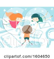 Poster, Art Print Of Kids Floating In The Clouds Among School Elements Like Book Notebook And Magnifying Glass