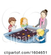Clipart Of A Teacher And Students Learning About Outer Space Royalty Free Vector Illustration by BNP Design Studio