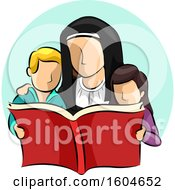 Clipart Of A Nun Reading A Book With Children Royalty Free Vector Illustration