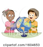 Poster, Art Print Of Boy And Girl Looking At A Globe And Using A Geography Book For Reference