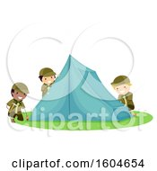 Clipart Of A Group Of Boy Scouts Setting Up A Tent Royalty Free Vector Illustration