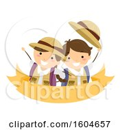 Poster, Art Print Of Boy And Girl Wearing Backpacks Wearing Explorer Clothes