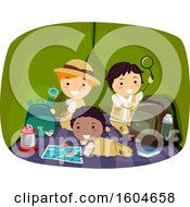 Clipart Of A Group Of Scout Boys In A Tent Royalty Free Vector Illustration
