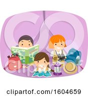 Clipart Of A Group Of Girls Inside A Tent Royalty Free Vector Illustration