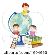 Clipart Of A Giant Desk Globe With Children And Books Royalty Free Vector Illustration