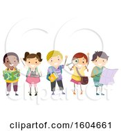 Clipart Of A Group Of Children With Geography Elements Royalty Free Vector Illustration