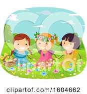 Clipart Of A Group Of Girls Playing In A Flowery Spring Meadow Royalty Free Vector Illustration
