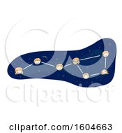 Clipart Of A Big Dipper Constellation With Faces Of Children Royalty Free Vector Illustration