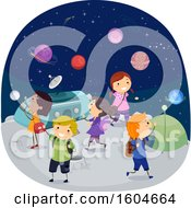 Clipart Of A Group Of Children In A Planetarium Royalty Free Vector Illustration