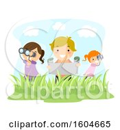 Clipart Of A Boy And Girls Holding Binoculars Map And Camera Exploring Outdoors Royalty Free Vector Illustration