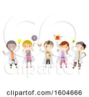 Clipart Of A Group Of Children With Physics Elements Royalty Free Vector Illustration