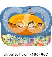 Clipart Of A Group Of Children In A Submarine Over A Reef Royalty Free Vector Illustration