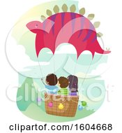 Clipart Of A Group Of Children Riding In A Dinosaur Hot Air Balloon Royalty Free Vector Illustration